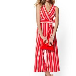 New York & Co XS Red and White Striped Jumpsuit